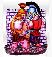 Gladiators. Color pencils drawing Poster