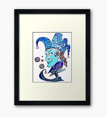 Clown surreal pen ink and pastel drawing Framed Print