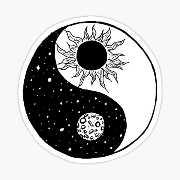 Sun and Moon Yin and Yang  Sticker