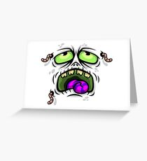 The Wormy Face Monster Greeting Card