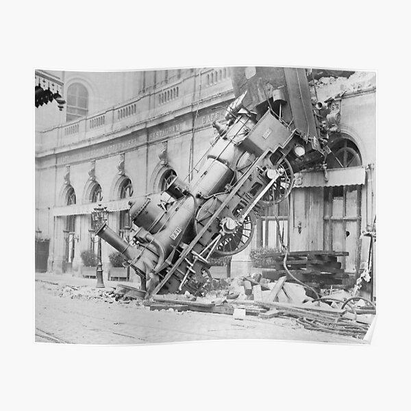 Train Wreck At Montparnasse Station - 1895 Poster