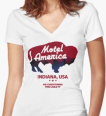 Motel America - Home of the Gods Women's Fitted V-Neck T-Shirt