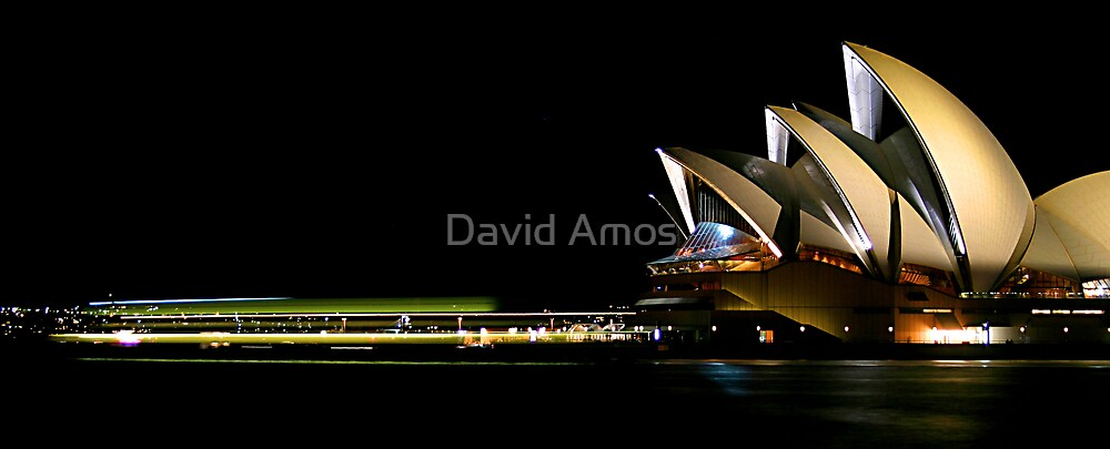 Opera-house at night - Moving ferry. by David Amos