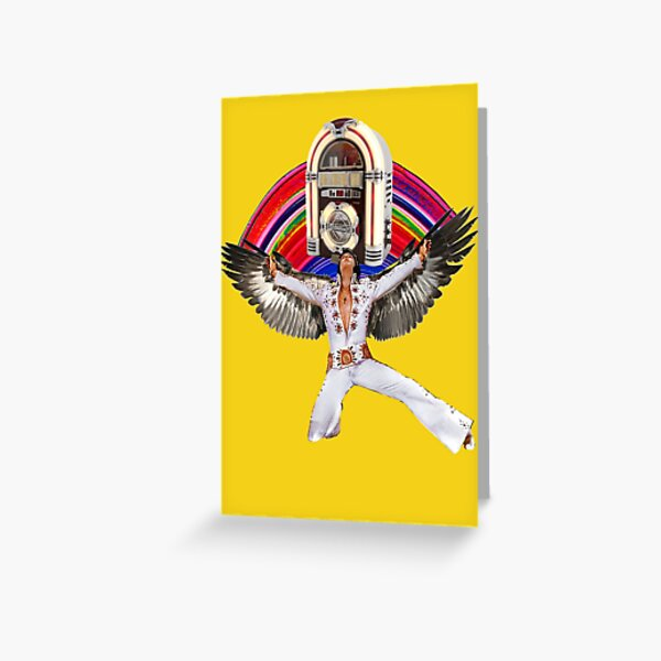 Elvis Brings Forth the Jukebox from the Rainbow in His Magnificent Wings Greeting Card