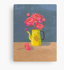Yellow kettle filled with love Canvas Print