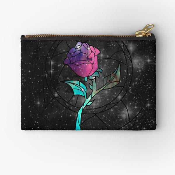 Stained Glass Rose Galaxy Zipper Pouch