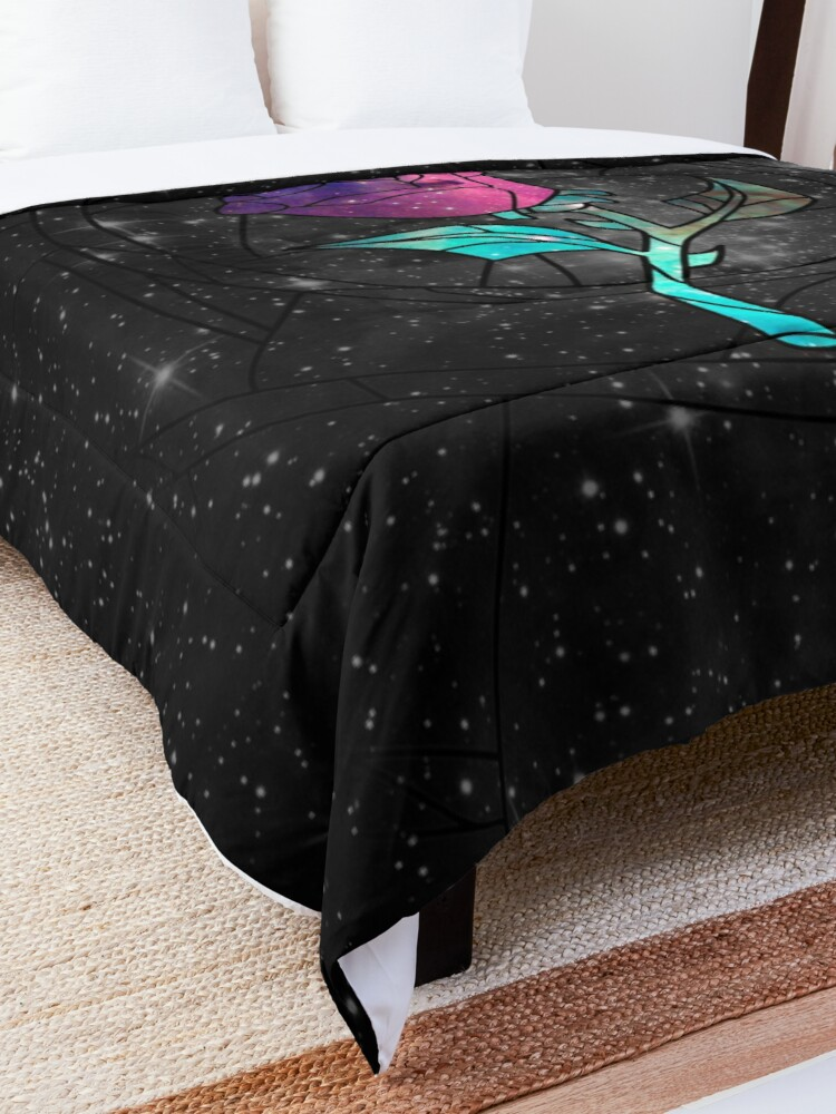 Alternate view of Stained Glass Rose Galaxy Comforter