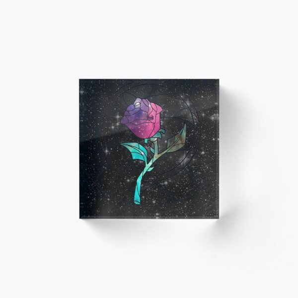 Stained Glass Rose Galaxy Acrylic Block