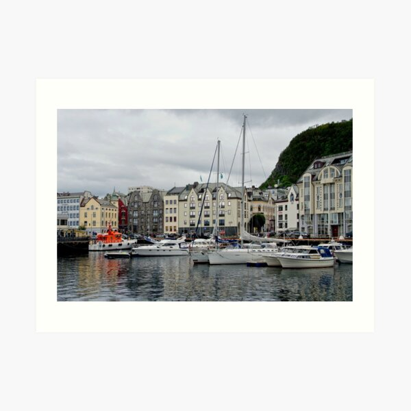 Boats at Marina in Alesund, Norway Art Print