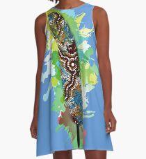 Aboriginal Art Authentic- Wetland Feather A-Line Dress