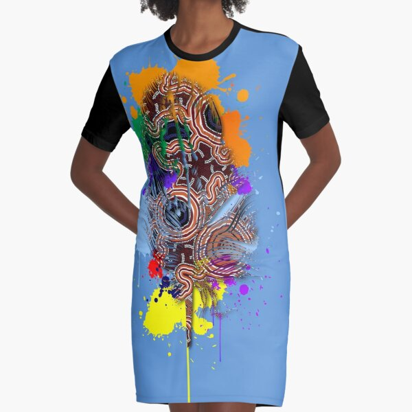 Aboriginal Art Authentic- Pathways Feather Graphic T-Shirt Dress