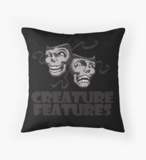 Gray Drama Mask Throw Pillow