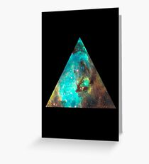 Green Galaxy Triangle Greeting Card