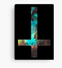 Green Galaxy Inverted Cross Canvas Print