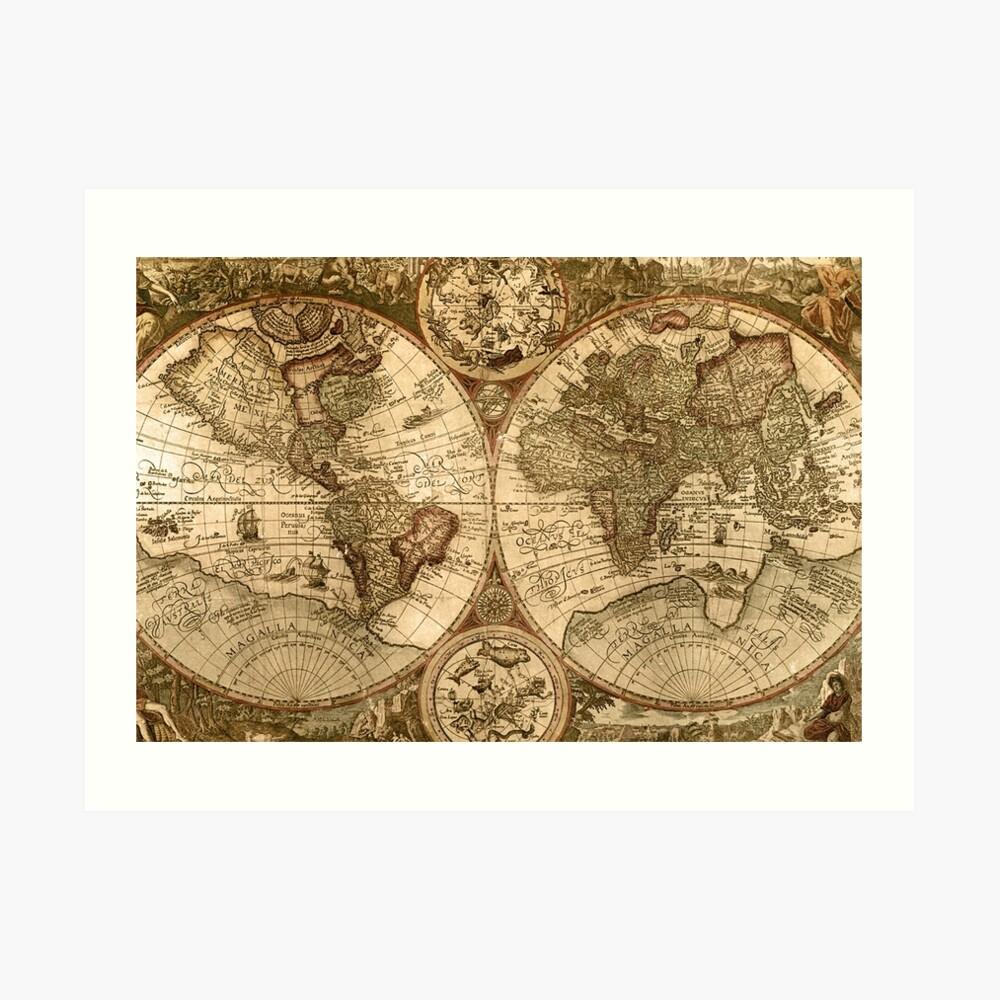 Alte Karte Kunstdruck