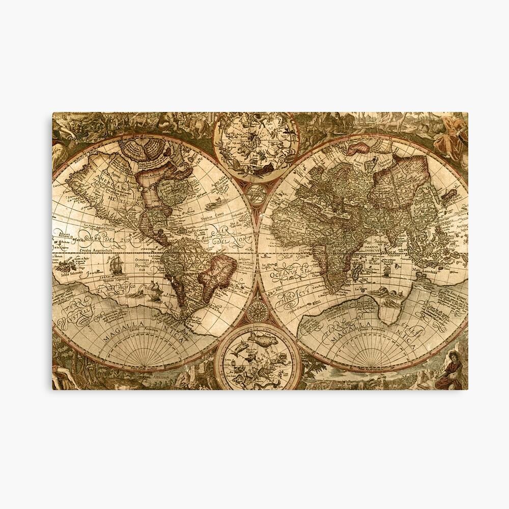 Alte Karte Leinwanddruck