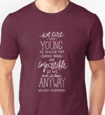 Do Impossible Things - William Wilberforce White on Pink Unisex T-Shirt