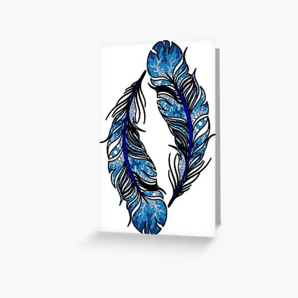 Authentic Aboriginal Art -  Waterholes Feather Greeting Card
