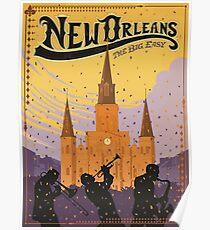 New Orleans Das große einfache Retro-Reise-Plakat Poster