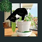 Cat and Peace Lily by Martine Carlsen