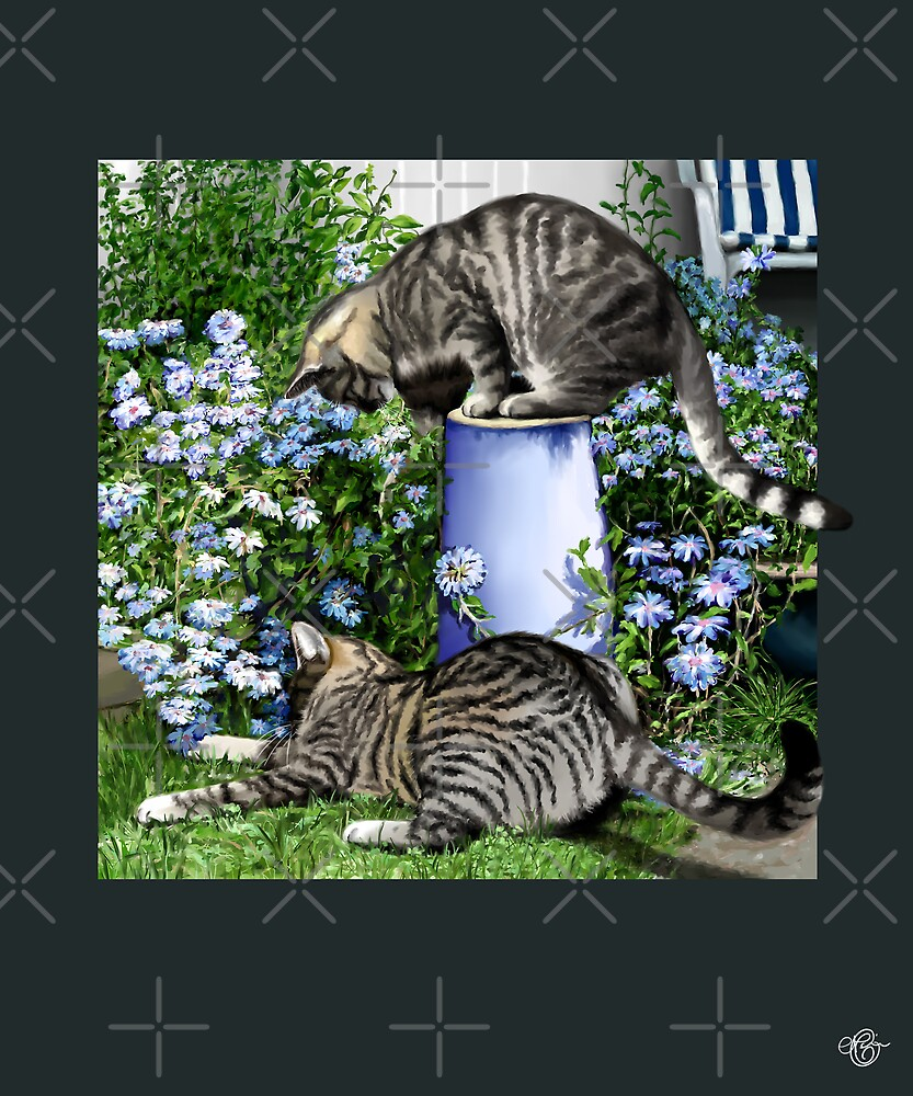 Cats and Flowers by Martine Carlsen