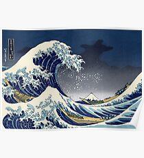 Große Welle: Kanagawa-Nacht Poster