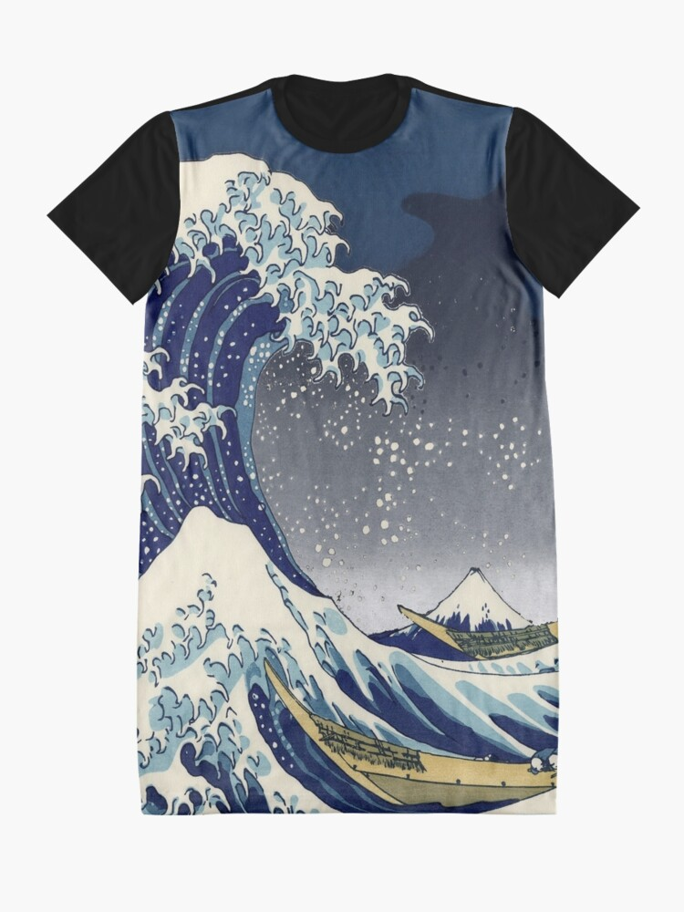 Alternate view of Great Wave: Kanagawa Night Graphic T-Shirt Dress