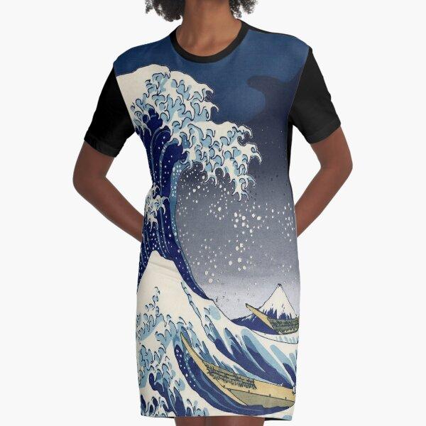 Great Wave: Kanagawa Night Graphic T-Shirt Dress
