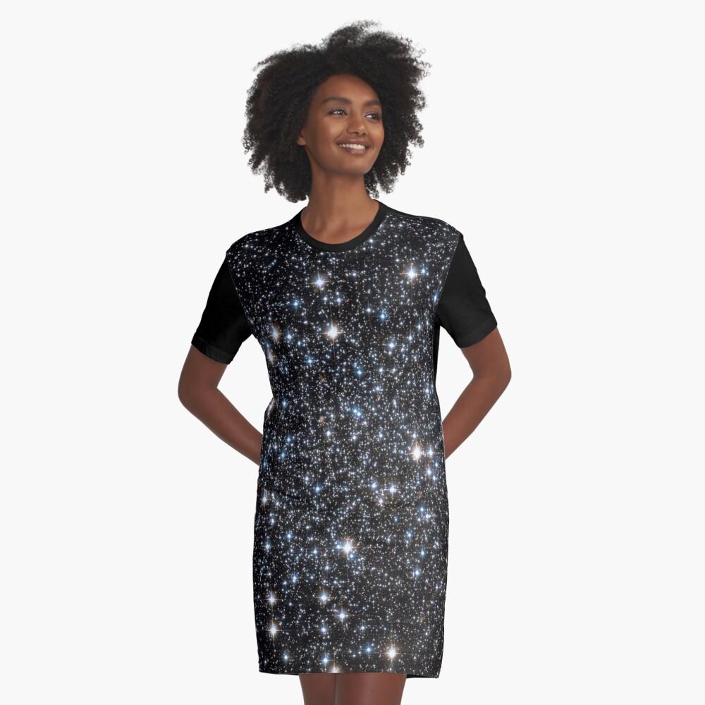 Glitter Galaxy Graphic T-Shirt Dress