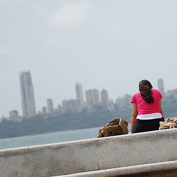 Alone by the sea, Mumbai, India 1 by SheriarIrani