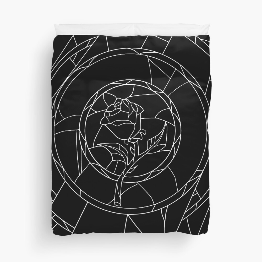Stained Glass Rose Black Duvet Cover