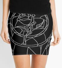 Stained Glass Rose Black Mini Skirt