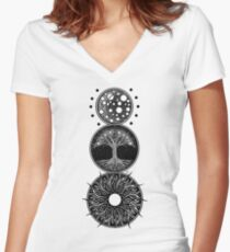 EP. MOON / LIFE / SUN Women's Fitted V-Neck T-Shirt