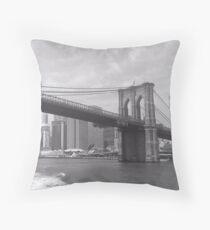Brooklyn Bridge B&W Throw Pillow