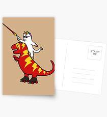 Unicorn Cat Riding Lightning T-Rex Postcards