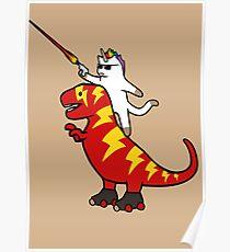 Unicorn Cat Riding Lightning T-Rex Poster