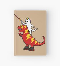 Unicorn Cat Riding Lightning T-Rex Hardcover Journal