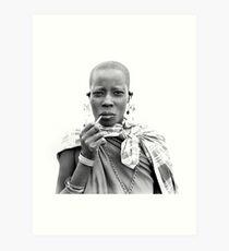 Smoking Masaii woman Art Print