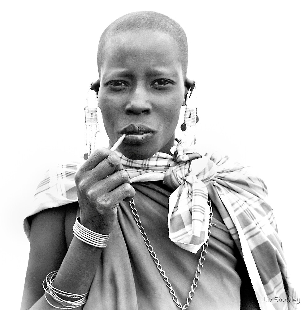 Smoking Masaii woman by Liv Stockley