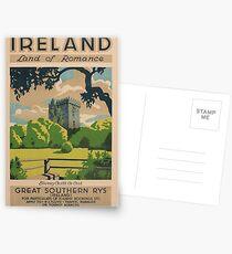 Irland-Land des Romance Weinlese-Reise-Plakats Postkarten