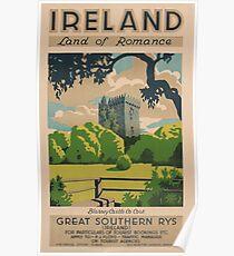 Irland-Land des Romance Weinlese-Reise-Plakats Poster