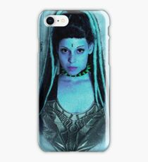 A young woman wearing a fetish fashion outfit and armor corset  iPhone Case/Skin
