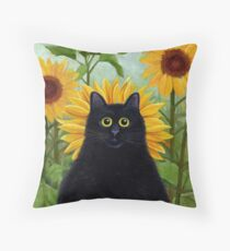 Dan de Lion with Sunflowers Throw Pillow