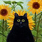 Dan de Lion with Sunflowers by vickymount