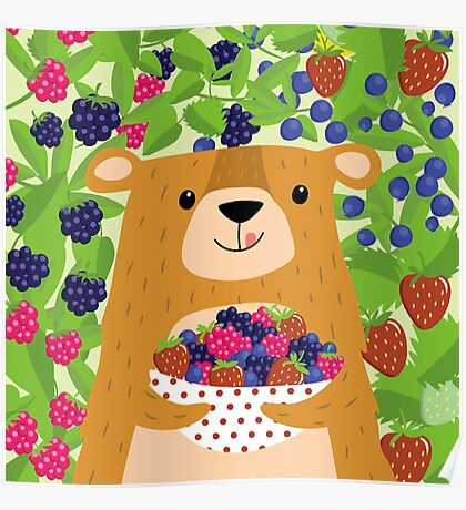 I love berries - Beeriger Bär Poster