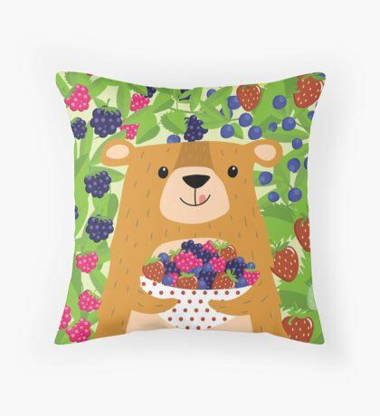 I love berries - Beeriger Bär Throw Pillow