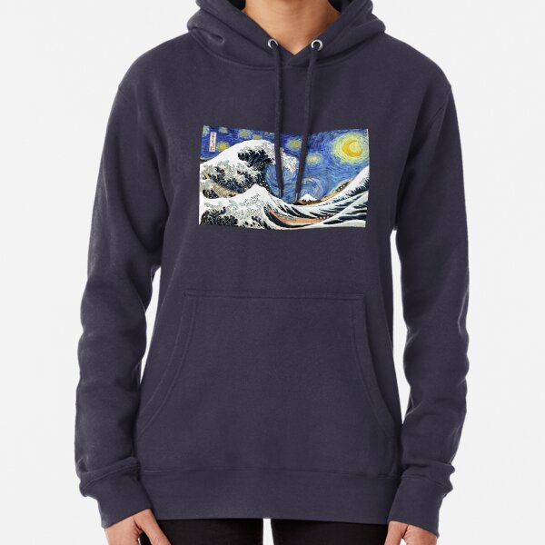 Iconic Starry Night Wave of Kanagawa Pullover Hoodie