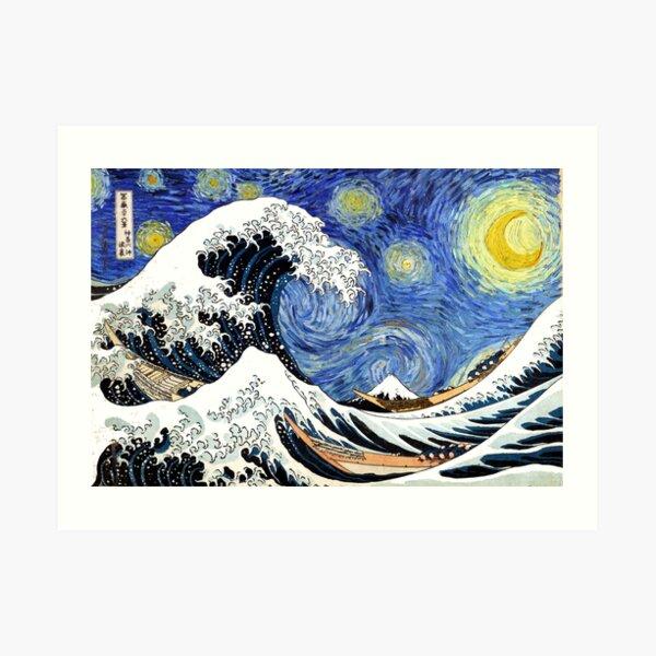 Iconic Starry Night Wave of Kanagawa Art Print