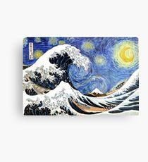 Lienzo metálico Iconic Noche estrellada Ola de Kanagawa