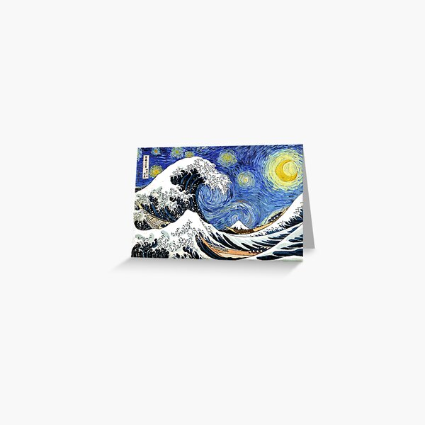 Iconic Starry Night Wave of Kanagawa Greeting Card